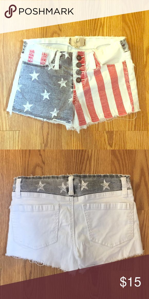 American shorts Lost white shorts with American flag at front, perfect for 4th of July! Wore twice Lost Shorts