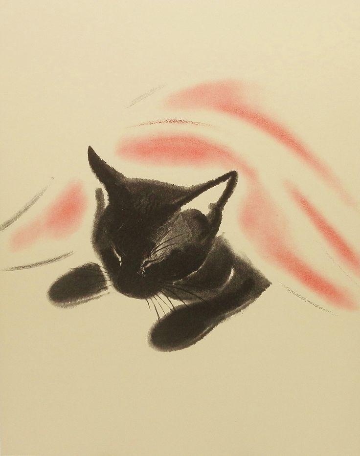 Vintage Cat-Nap Wall Hanging, Black Cat (8x10 Children Print) No. 29. $8.00, via Etsy.......I want this.