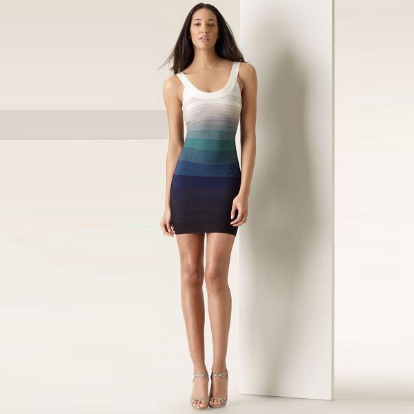 New herve leger blue gradient dress