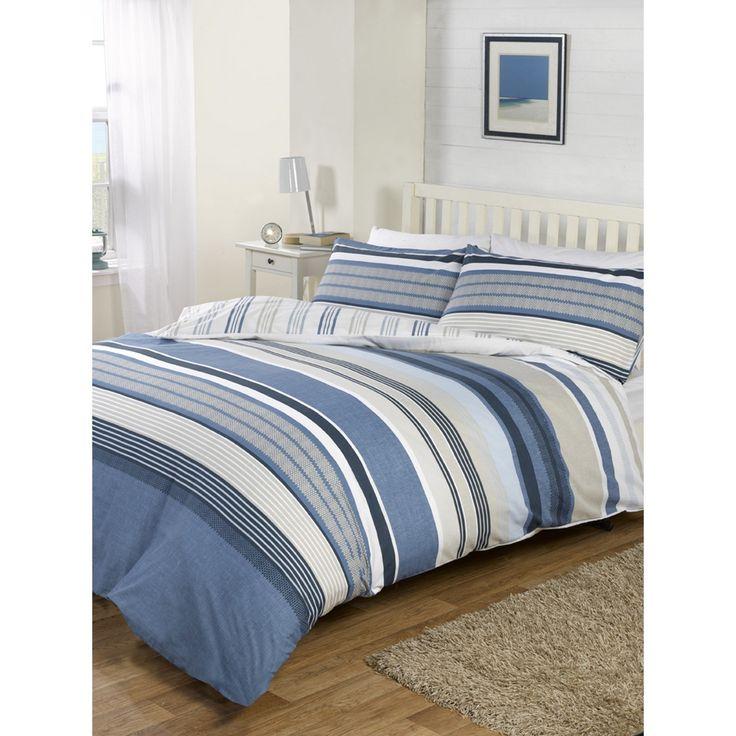 Meredith Stripe Print Duvet Cover and Pillowcase Set