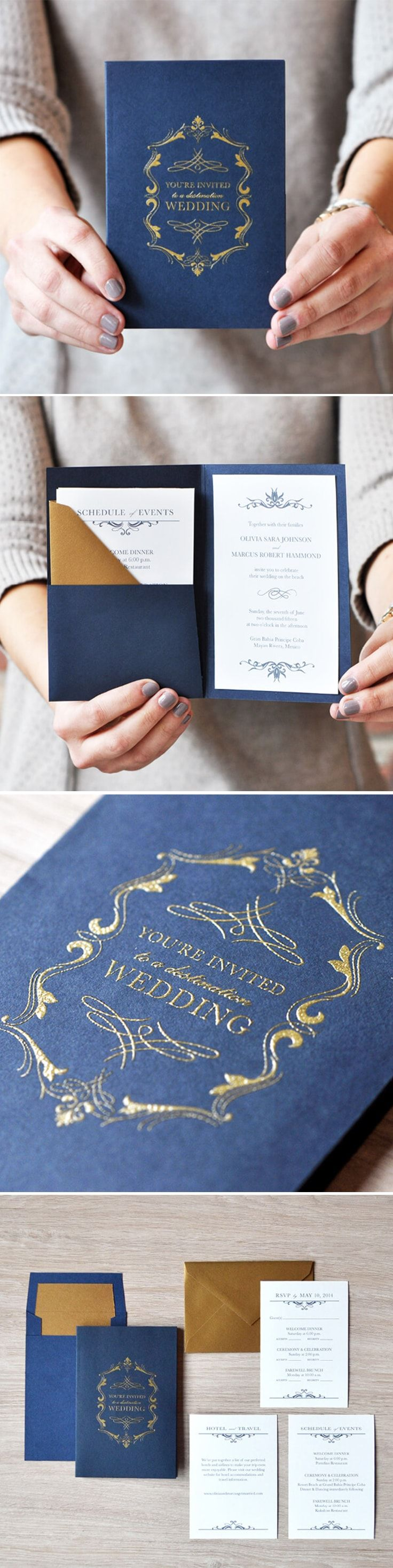 Wedding Invitation | OLIVIA Ahoy brides-to-be! If your style is nautical luxury, step aboard our Olivia suite! Gold accents + Pocket+ Luxepress printed + shimmer lined envelope = ychat-worthy gorgeousness #EngagingPapers #bridetobe #wedding #invitation