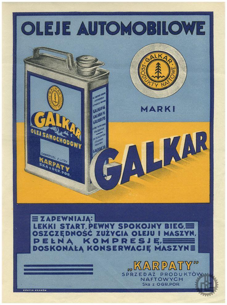 """Ulotka reklamowa """"Oleje automobilowe marki Galkar"""" z lat 30-tych XX w wydrukowana przez Grafia Kraków."""