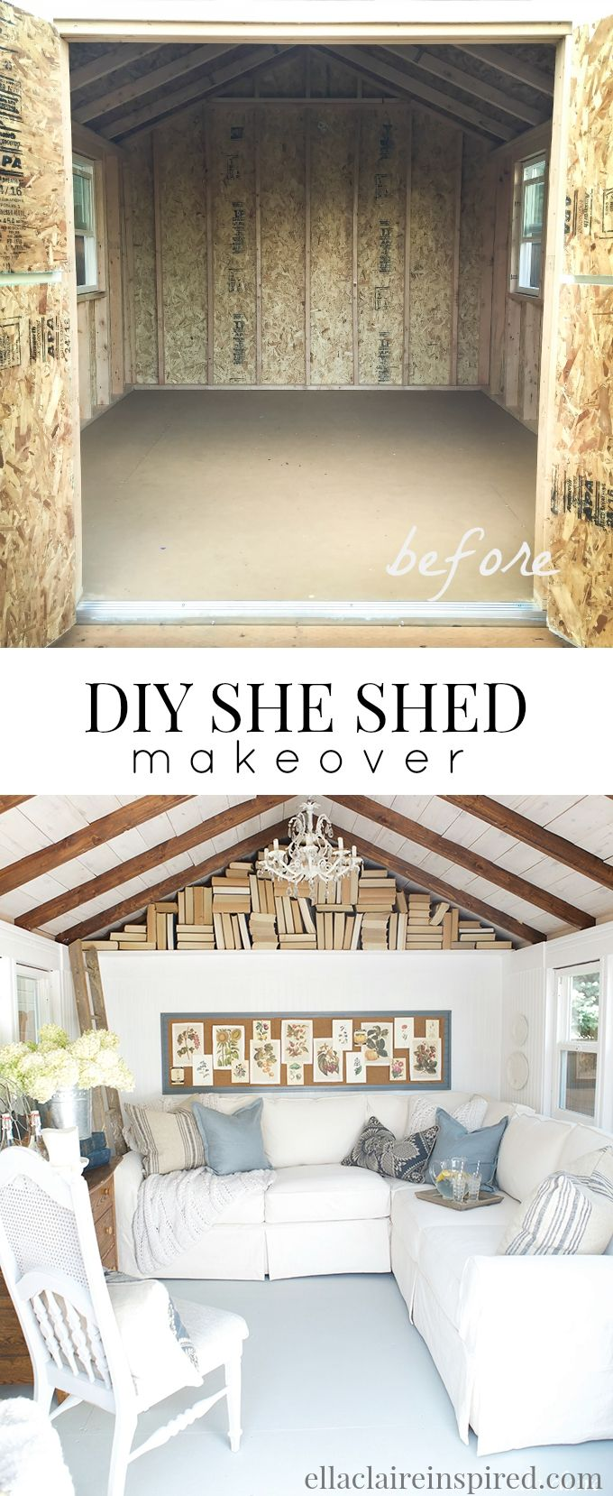 A DIY She Shed retreat with lots of cottage vintage charm by Ella Claire #shedplans