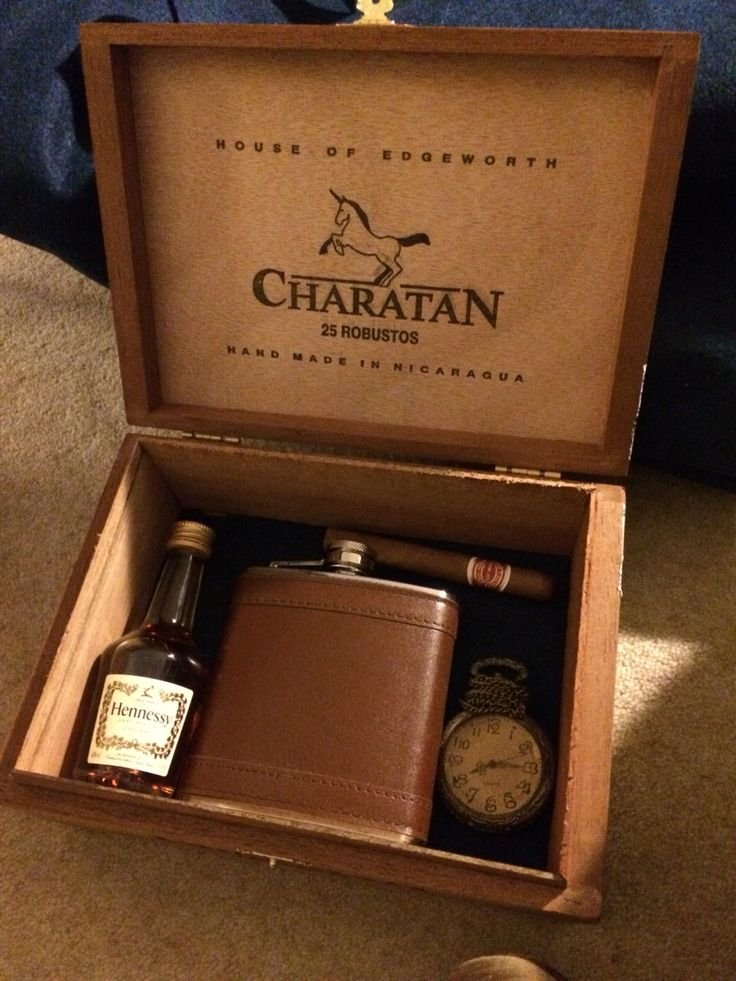 Homemade gift boxes; cigar boxes, hip flasks, cigars, pocket watches and miniature liquor bottles #CraftCultureCo #Love #DIY #Gifts #Homemade