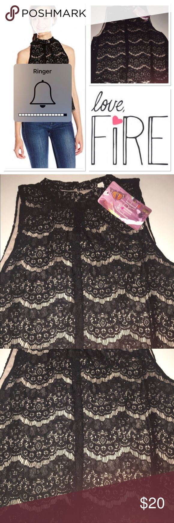 NWT Love Fire lace top with scalloped bottom Size L brand new black and cream lace top with scalloped bottom Love Fire Tops Blouses
