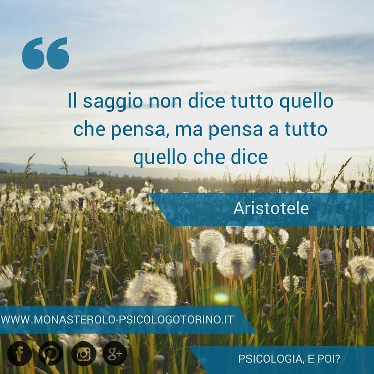 Il saggio non dice tutto quello che pensa, ma pensa a tutto quello che dice. #Aristotele #Aforismi