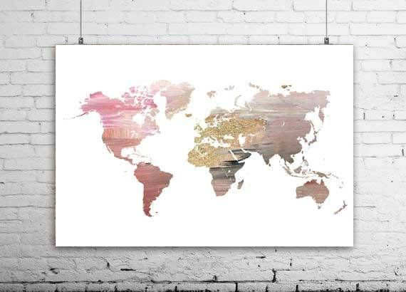 Pink and gold world map wall prints map of world world map