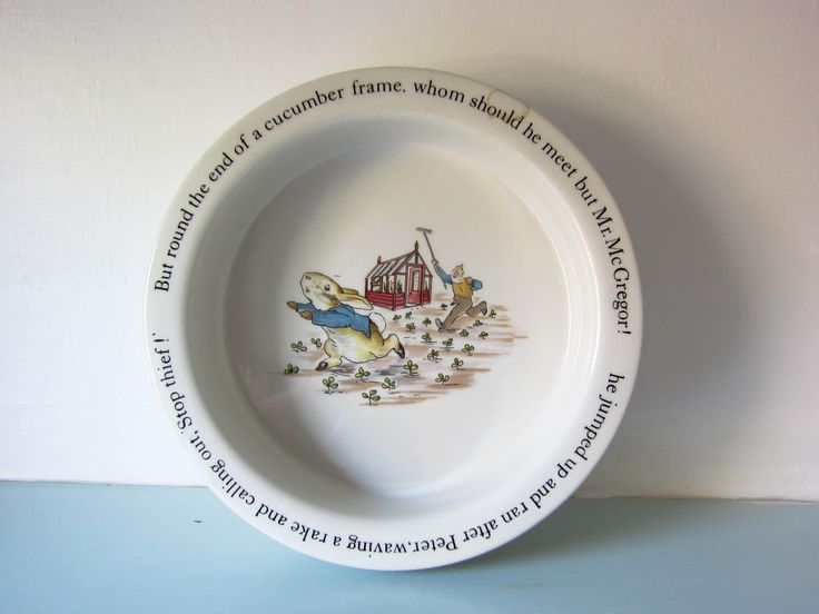 Vintage Peter rabbit children's plate, peter rabbit bowl, Beatrix Potter peter rabbit, Christening gift, baby shower gift, child's Birthday. by thevintagemagpie01 on Etsy