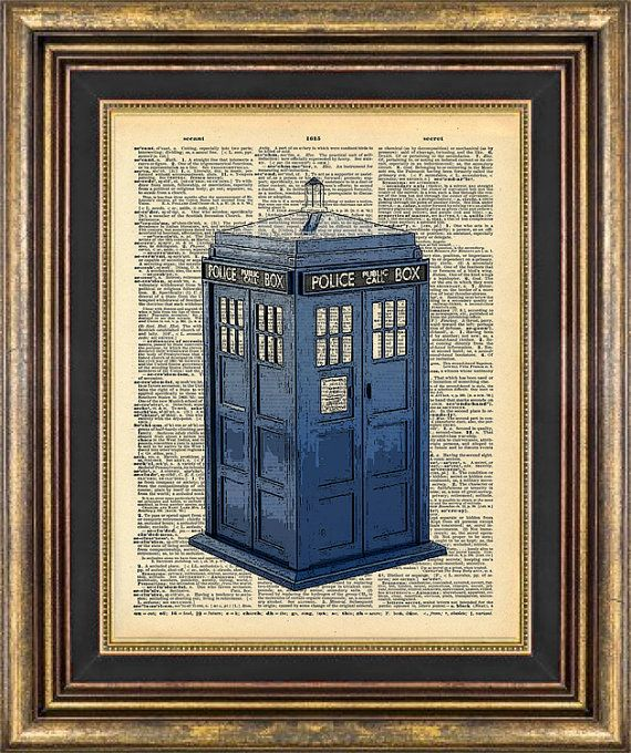 $9 on etsy - Dr Who Tardis Police Call Box Dictionary page art Book Page art Print