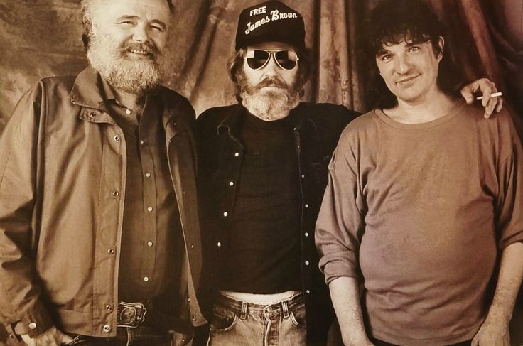 "Garth Hudson, Levon Helm, and Rick Danko of The Band backstage at ""This Country's Rockin'"" concert in Pontiac, Michigan in 1989. (Photographer: Nancy Lee Andrews)"
