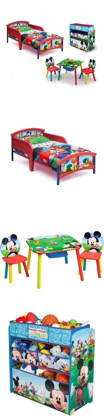 Kids Furniture: Cheap Bedroom Sets Disney Mickey Mouse Toddler Furniture Bed Toy Organizer Table BUY IT NOW ONLY: $135.53