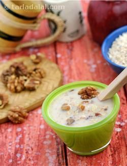 Unpeeled apple that is rich in fibre and walnuts that are rich in omega-3 fatty acids strengthen the heart, so the apple and walnut kheer can be enjoyed as an occasional treat even by those with heart problems. The recipe is made healthier by using low-fat milk to reduce the calorie-scare! What is more, this nutritious kheer can be prepared within minutes in a very simple fashion, so it can be used by anybody as a quick and tasty dessert.