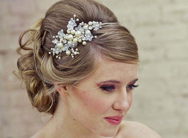 Wedding updo with pearl headband