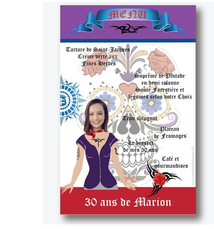 Menu  anniversaire, thème : TATOUAGE GIRL. Vous êtes fan de tatouage!! .Plus d'informations en cliquant sur le lien suivant https://www.laboiteafairepart.fr/menu-anniversaire-femme-tatouage/ #menuanniversairefemme #invitationfemme #anniversairefemme #invitationanniversaire Le 29/05/17