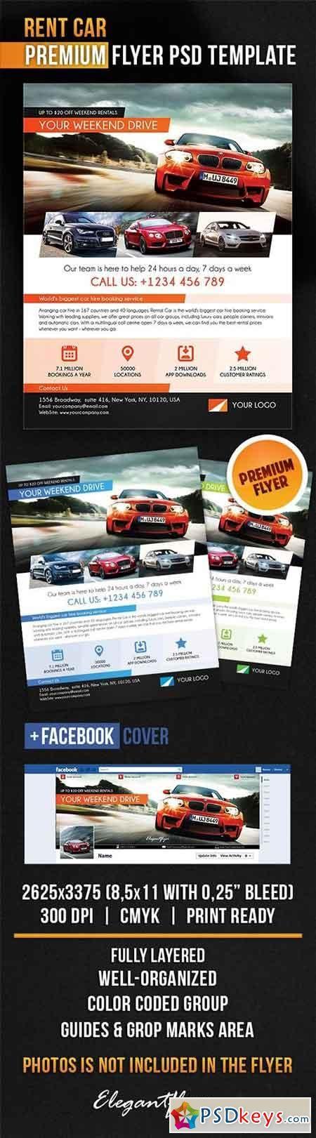 Rent Car Flyer PSD Template + Facebook Cover