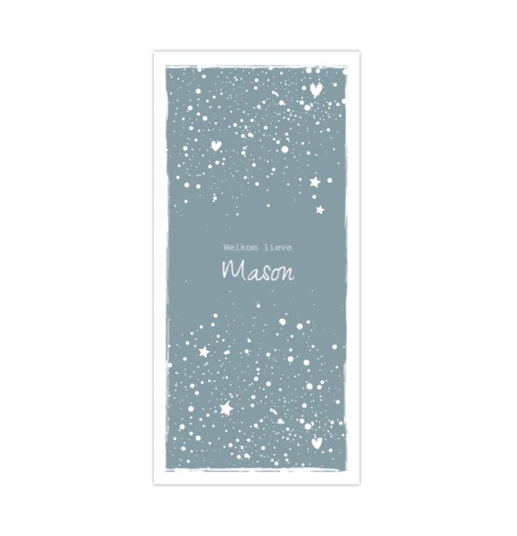 lovz.nl   NIEUW! langwerpig formaat! Geboortekaartje jongen grijsblauw met sterren en spetters. Zelf maken!