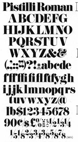Pistilli Roman, font designed by Luballin and Lou Dorfsman...