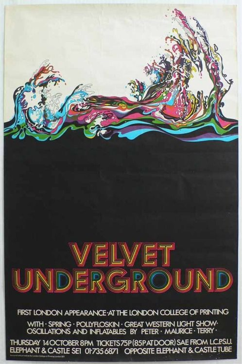 a rare Velvet Underground concert poster for a shower at the London College of Printing, 1971.