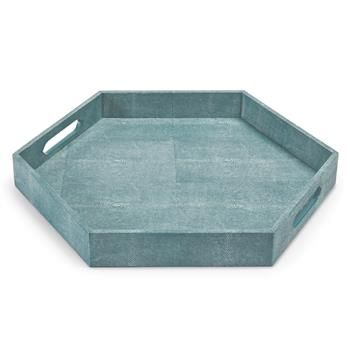 Covered in a gorgeous, turquoise shaded, cruelty-free faux stingray shagreen, this hexagonal tray is so attractive, so perfect, you'll want to display your finest perfumes, decanters, or aperitifs on it.  Or, if everyday luxury is your style, serve a special someone breakfast in bed! #kathykuohome