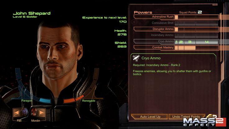 Mass Effect 2 Skill Upgrade screen