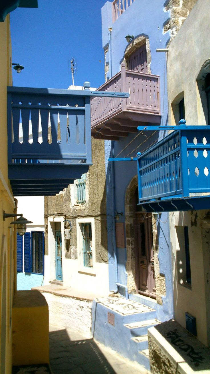 people's distance in Greece, Nisiros, one next to the other, colorful beauty