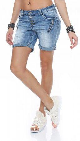 SKUTARI Damen Jeanshosen Kurze Baggy Jeans Boyfriend