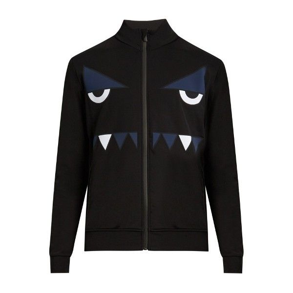 Fendi Bag Bugszip-through nylon sweatshirt ($402) ❤ liked on Polyvore featuring men's fashion, men's clothing, men's activewear and men's activewear tops