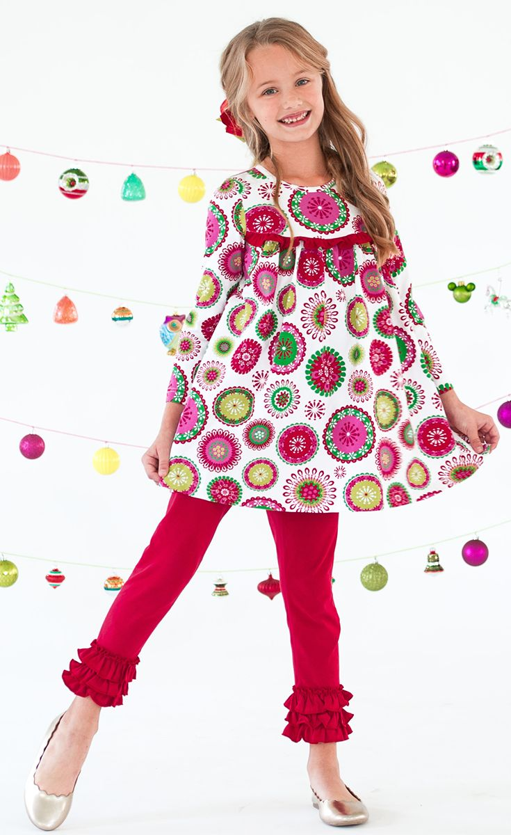 A Christmas dress that is sure to spread holiday cheer! Pair it with our ruffle leggings for a layered look!