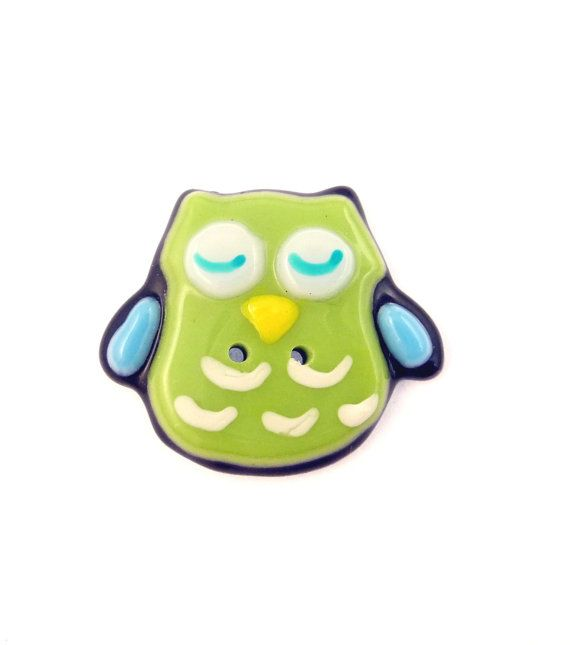 ONE Fused Glass Lime Green and Blue Owl by buttonsbyrobin2 on Etsy, $14.99