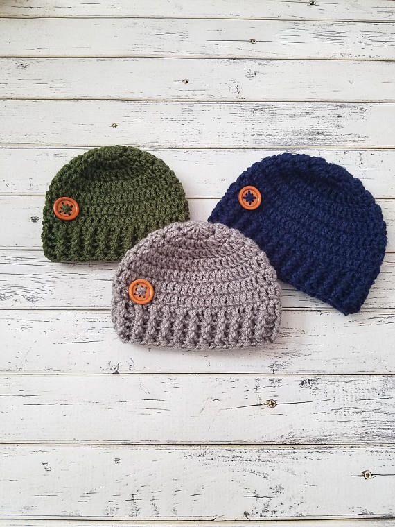 Baby Boy Hat, Crochet Baby Hat, Baby Boy Beanie, Baby Button Hat, Newborn Boy Hat, Baby Beanie, Crochet Baby Beanie, Boy Baby Hat  #boy #boys #boyshat #crochethat #etsy #warm #handmade #babyboy