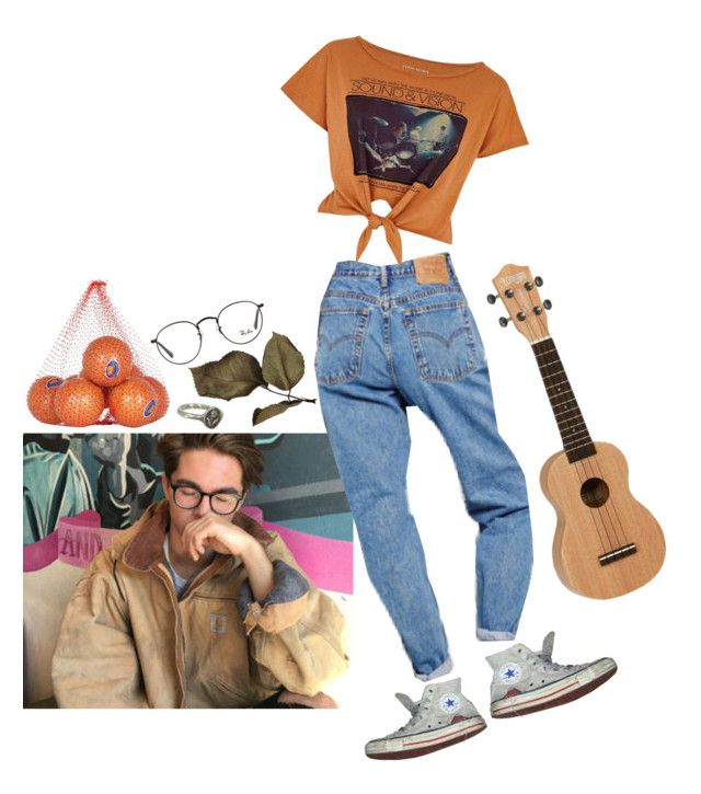 """#113 Orange is the new orange"" by irenegontiveros ❤ liked on Polyvore featuring River Island, Converse, Ray-Ban and Pyrrha"