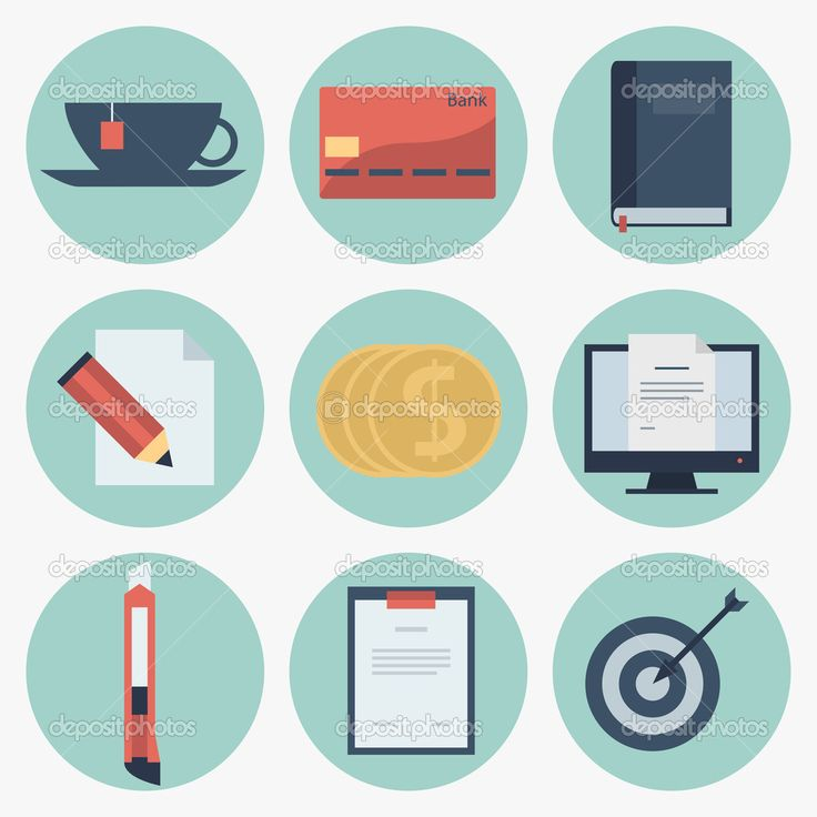 Iconos planos modernos de recolección de vectores, objetos de diseño web, negocios, finanzas, artículos de oficina y de marketing — Ilustración de Stock #42598847