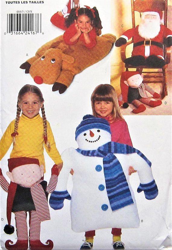 Christmas Pillow Pals Sewing Pattern UNCUT Butterick 4663