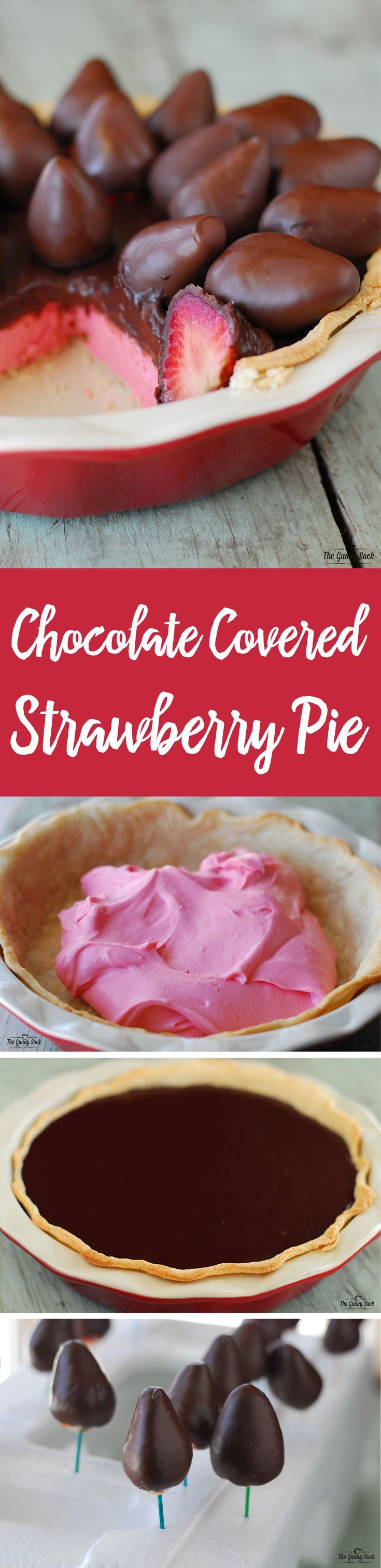A Chocolate Covered Strawberry Pie is the perfect way to celebrate Valentine's Day! This recipe includes strawberry silk, chocolate ganache and chocolate covered strawberries.