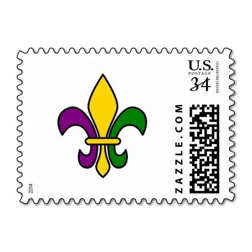 Mardi grass fleur-de-lys stamps