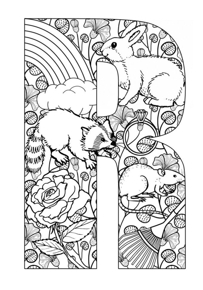 Letters activities: R Printable colouring in