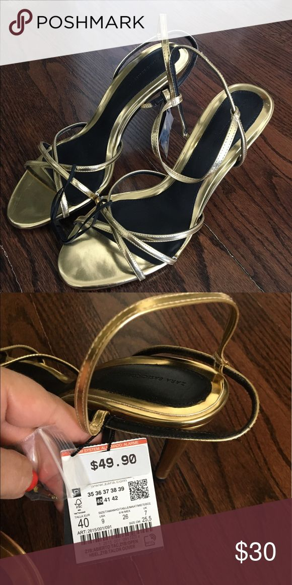Zara gold strappy sandals Never worn with the tags! The color is gold but that was an option in the color list Zara Shoes Sandals