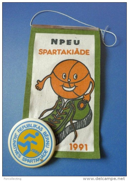 Olympics Children's Youth Sports Day 1986 Pin badge on Flag Pennant NPEU Sport Day 1991 signed for 3rd Place in Football