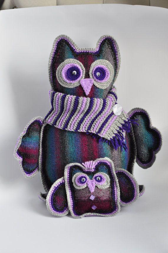 Игрушки, вязаные игрушки, вязаные Совы, чучело совы, ручной работы Игрушка, Softie сова, сова, Фиолетовый рук вязать птиц, Рука вязаные игрушки, Сова, Дизайн интерьера
