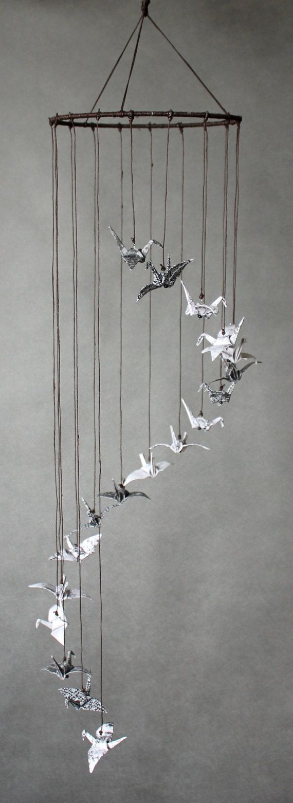 "Black White and Brown Cylinder-Shaped Mobile, Origami Cranes ""Up & Up!"", Minimalistic, Oriental"