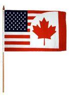 USA Canada Traditional Flag and Flagpole Set
