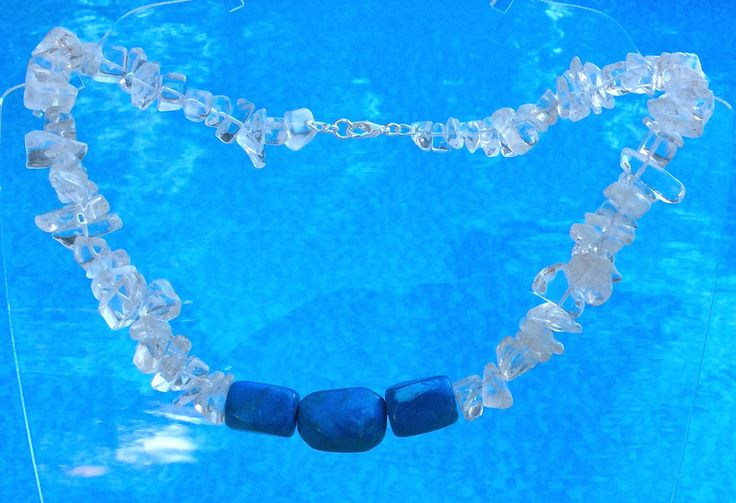 Crystal and Howlite necklace, Crystal chips and turquoise howlite, summer weddings, something blue, gift for her, jewelry by Tmlccreations on Etsy