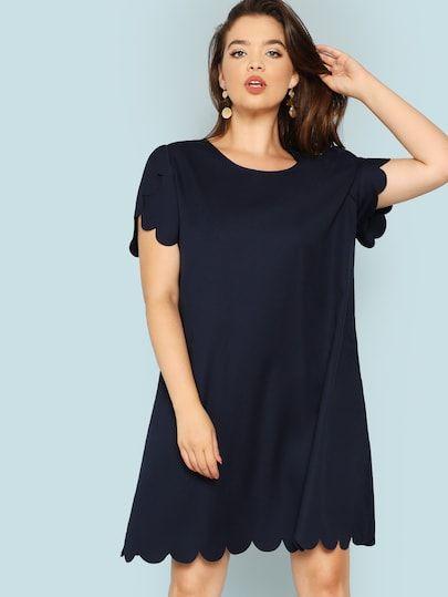 1201822988 Shop Plus Scallop Trim Solid Dress online. SHEIN offers Plus Scallop Trim  Solid Dress & more to fit your fashionable needs.