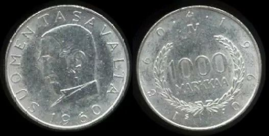 Finland 1000Markkaa silver