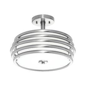 Kichler Lighting Bands 14.02-in W Brushed Nickel Fabric Semi-Flush Mount Light