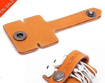 Leather Earphone Headphone Organizer with Snap by MillionBag