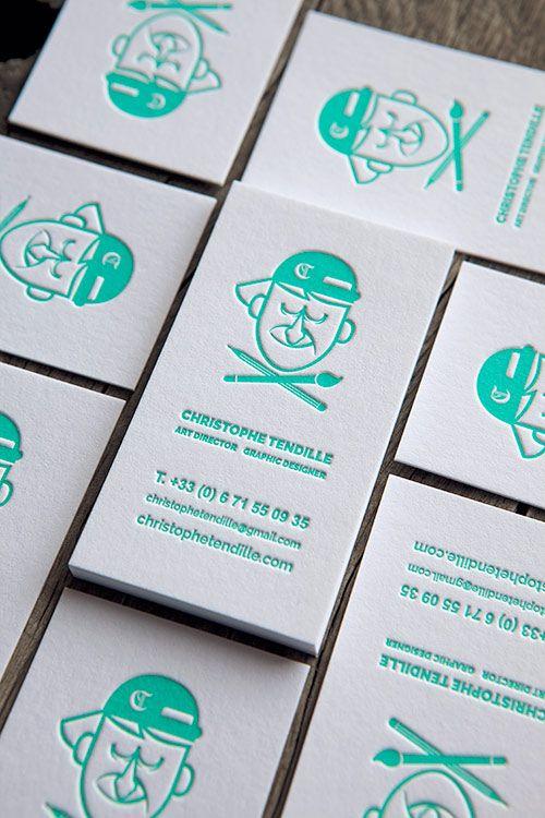Cartes De Visite Impression Vert Deau 333U Recto Seul Letterpress Business Cards Printed