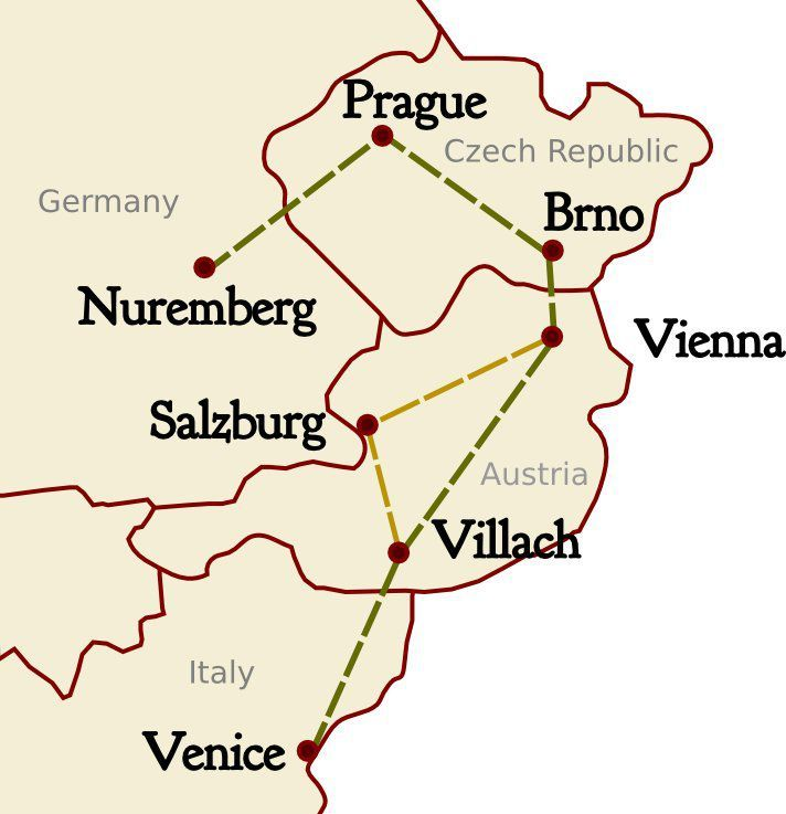 Suggested Central European itinerary taking in the cities of Venice, Villach, Salzburg, Vienna, Brno, Prague, and Nuremburg.