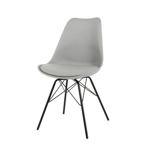 Stuhl aus Polypropylen und Metall, grau
