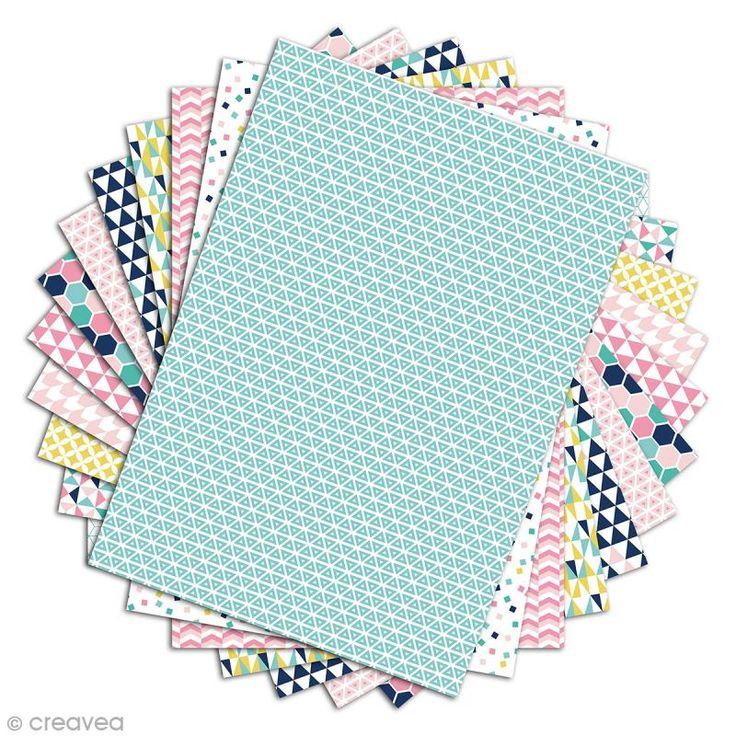 Papier scrapbooking Toga - Color factory - Géométrique pastel - 48 feuilles A4 - Photo n°2